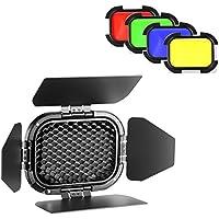 Neewer–dedicado Flash Cabeza de Puerta de Granero con Honeycomb Grid y 4filtros de Gel de Color (Amarillo, Verde, Rojo, Azul) para AD200Bolsillo Speedlite Flash Cabeza (BD-07)