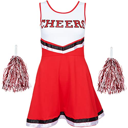 Leader Cheer Kostüm - Redstar Fancy Dress - Damen Cheerleader-Kostüm - Uniform mit Pompons - Halloween, American High School - 6 Größen 34-44 - Rot - S