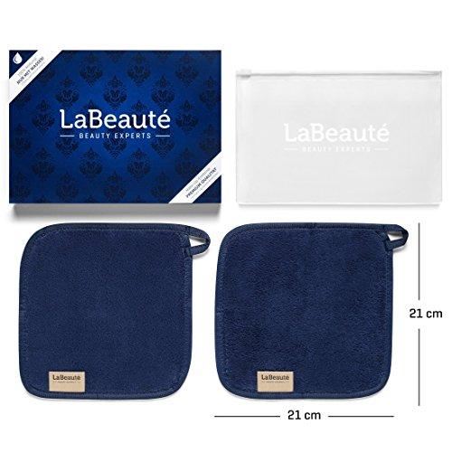 LaBeauté Make-Up Entferner-Tücher (2 Stück), Gesichtsreinigung und Abschmink-Tücher, waschbar und wiederverwendbar (21x21 cm, Navy-Dunkelblau)