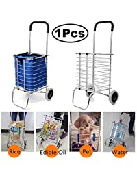 Getko With Device Shopping Cart Trolley Aluminium Foldable Luggage 2 Wheels Folding Grocery Basket (Silver)