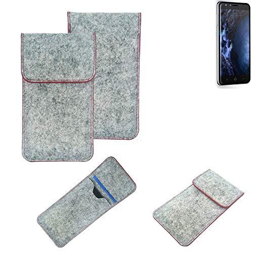 K-S-Trade® Filz Schutz Hülle Für -Doogee Y6 4G- Schutzhülle Filztasche Pouch Tasche Case Sleeve Handyhülle Filzhülle Hellgrau Roter Rand