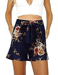 Vovotrade Femmes Sexy Jupe été Imprimé Pantalon Court Lotus Bord