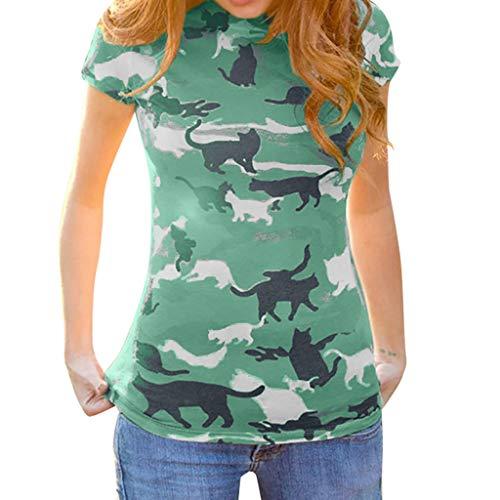 TWIFER Camouflage Katzendruck Sommer T Shirt Damen Gedruckt Katze Rundhals Kurzarm Bluse Shirts Tee