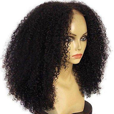 ze mongolischen Echthaar Perücke leimlosen Spitze vorne 130 % Dichte mit Baby Haare Jerry Curl Afro Kinky Cur Ly-Perücke schwarz (Jerry Curl Perücke)