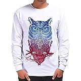VRTUR Herren T-Shirts Beiläufig 3D Drucken Hip Hop Langarm Zur Seite Fahren Sweatshirt Oben Bluse Pullover Langarmshirt Karneva (X-Large,Weiß)