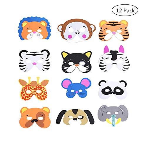 Kinder Schaum Tiere Masken,12 Stück Schaum Masken Dschungel Tier Masken Tiermasken Kinder für Jungen Mädchen Geburtstag Halloween Christmas Party (Dschungel Tier Kostüm Kinder)