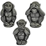 les 3 singes de la sagesse secret du bonheur statue en. Black Bedroom Furniture Sets. Home Design Ideas