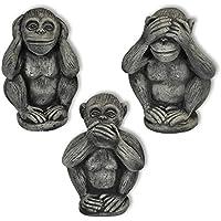 Decorazione, 3 piccole scimmie (Scimmie della saggezza), in pietra ricostituita, nano di giardino, importato dalla Tailandia (10256)