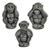 3 Affen Set massiv Nichts sehen hören sagen Glücksbringer Skulptur