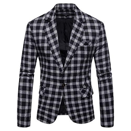 TWISFER Herren Blazer Plaid Sakko Business Hochzeitsanzug Revers Slim Fit Outwear Blazer Coat Outwear Anzuege Party Smoking Outwear Langarm Kostüm Eleganter Cocktail Jacket -
