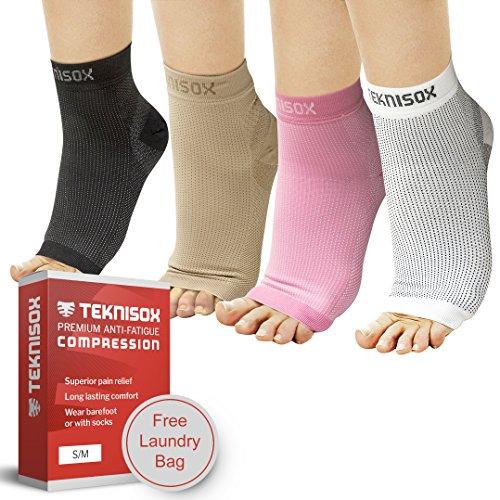 Socken Plantar-Fasziitis / Arthritis Kompressions-Manschetten - ÜBERLEGENE Schmerzlinderung in Füßen und Fersen, Zehenlose Fuß-Stütze - Schwarz/Weiß/Hautfarben/Rosa - für Männer und Frauen