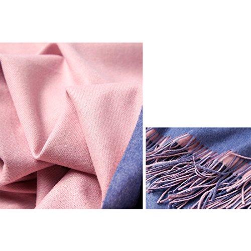 GWELL Capes Ponchos Femme Double-face de Couleur Pure Echarpe Châle Chaud Tricot bleu 1