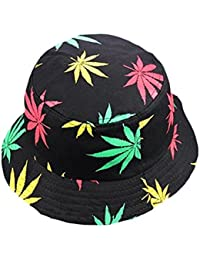 a1a7c75f61973 Vikenner Unisex Maple Leaves Bucket Hats Cotton Sun Hat Summer Fisherman Hat  Adult Caps - Green
