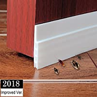 """Under Door Draught Excluder Self Adhesive Draft Excluder Tape for Doors Soundproof Rubber Door Bottom Seal Strip 2"""" W x 39"""" L (White)"""
