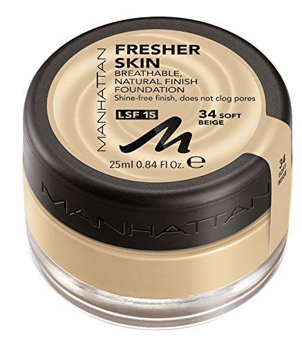 Manhattan Fresher Skin Foundation Make-Up, Fb. 034, Soft Beige -