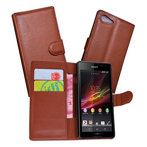 Guran® Ledertasche Tasche für Sony Xperia E3 (4,5 Zoll) Smartphone Flip Cover Standing Funktion und Kartensteckplatz Handytasche Wallet Case
