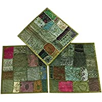 Set of 3 Pcs Vintage Indian Cushion cover-Home Furnishing Cushion Covers Size 16 X 16 Inches (Olive Green)