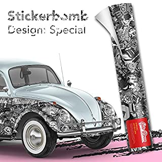 50x150cm Stickerbomb Auto Folie in schwarz/weiß matt - Sticker Logo Bomb - JDM Aufkleber - Design: Special