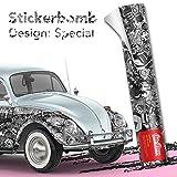 Stickerbomb Folie - Alle Designs - alle Größen! Ob Glänzend oder matt, bunt oder schwarz/weiß! Für blasenfreies 3D Car Wrapping mit echten Marken Sticker Bomb Logo Aufklebern- JDM (500x150cm, SD schwarz weiß matt)