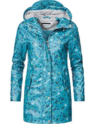 Peak Time Damen Allwetter Jacke Regenmantel L60017 Hellblau Flowers019 Gr. M