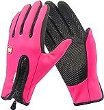 DUSISHIDAN Fahrradhandschuhe Touchscreen Handschuhe Winddicht Wasserdicht für Winter Radfahren und Outdoor Sports Herren und Damen Rosa S
