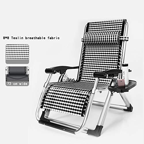 Chaises longues ZR- Chaise Zero Gravity, Chaise Pause Déjeuner À La Maison, Vieille Chaise Pliante, Chaise Adulte, avec Coton Amovible (Couleur : Silver Frame+Crystal Velvet)