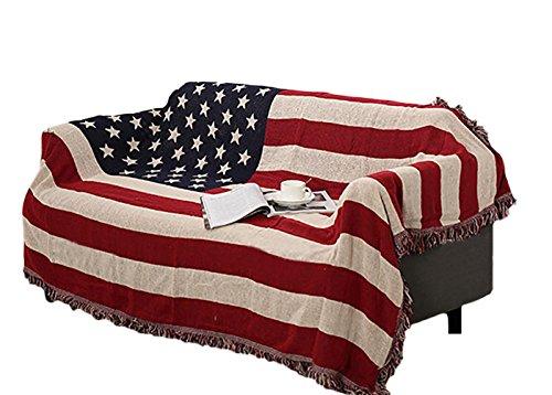 Icegrey Copriletto Coperta con Nappe Design Unico per Divano Letto Copriletto Copertura Copriletto Tappeto Bandiera Americana 220x170cm