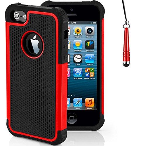 """iPhone Stoßfest Telefon Hülle/Case Gel TPU Abdeckung für iPhone 7 (4.7"""") mit Display Schutz / EJC Avenue / Grau Rot"""