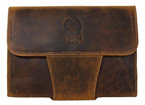 Travel wallet Leder Lederhülle für iPad Mini 1 2 3 4 Hülle Case Cover für Tablet 7.9 Zoll Tasche Schutzhülle Ledertasche Sleeve Herren Damen Organizer Echt-Leder Vintage braun Corno d´Oro IP09 (Ipad-tasche Für Frauen)
