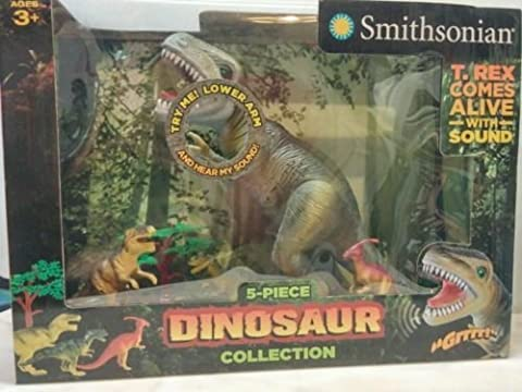 Smithsonian Dinosaur Set- 15 In. T-rex with Sound Effects, Parasauolophus, Ceratosaurus, Raptor, Tree by Smithsonian