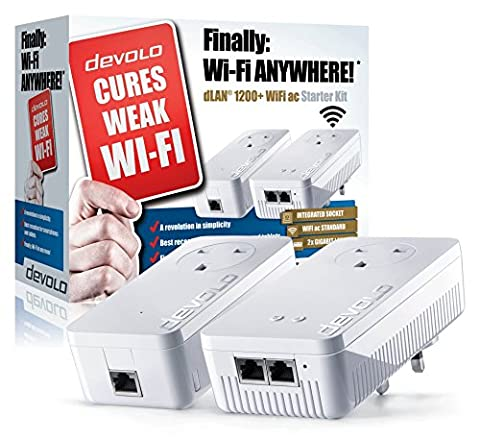 Devolo dLAN 1200+ WiFi ac Starter Kit 1200Mbit/s Ethernet/LAN Wifi Blanc 2pièce(s) Adaptateur réseau CPL - Adaptateurs réseau CPL (1200 Mbit/s, IEEE 802.1p,IEEE 802.3,IEEE 802.3ab,IEEE 802.3az,IEEE 802.3u,IEEE 802.3x, Type F, Gigabit Ethernet, 10,100,1000 Mbit/s, IEEE 802.11n)