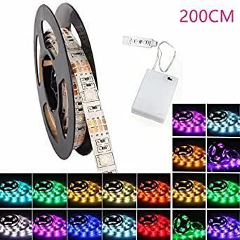 Bande Lumineuse, GLISTENY LED Strip Flexible Luminaire Battery Boite 5050SMD Multicolore Light Etanche Eclairage Pour Interieure Festival Eclairage Decoration 200cm Ruban