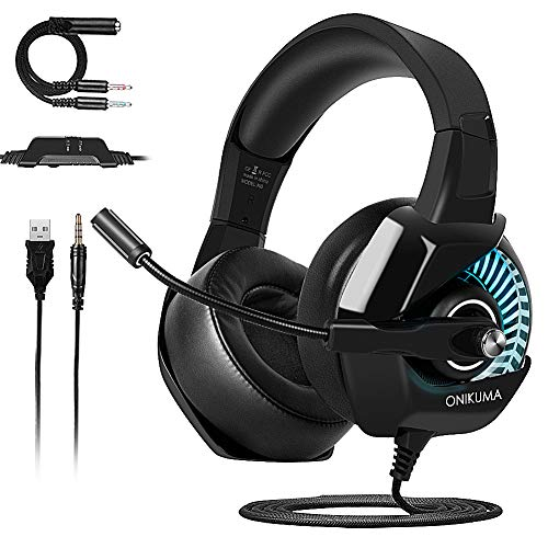 Casque Gaming PS4, ONIKUMA Casque Gamer Micro RGB LED Lampe PS4 Xbox One PC Mac Nintendo Switch Smartphone Laptop/Surround 7.1 virtuel/Anti Bruit Mic/Arceau Réglable/Drivers de 50mm (RGB)