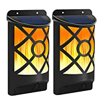 Solar Wall Lights with Flickering Flame 66 LED Waterproof Solar Lights Outdoor Lighting Dusk to Dawn Auto On/Off Flame Effect Solar Garden Lights for Halloween Pathway Patio Deck Yard 2 Pack