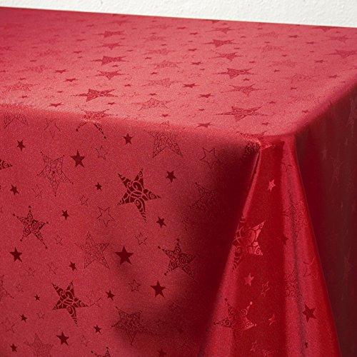 Kamaca Lotus Effekt Tischdecke Magic Stars mit Sternen Motiv - mit FLECKSCHUTZ - Flüssigkeiten perlen einfach ab (Tischdecke 150x250 cm, Rot)