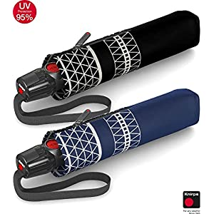 Knirps T.200 Taschenschirm Duomatic Triton Black – inkl. Futteral im Schirmdesign – Hochqualitative Verarbeitung – 100…