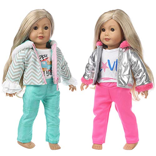 ZITA ELEMENT 2 Sets Winter Outfits Puppenkleidung Kleider für 40cm-46cm Puppen American 18 Zoll Girl Doll Kleidung der Winter Outfits, Unsere Generation Doll - 2 Daunenjacke + 2 Hosen + 2 Shirts