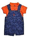US Polo Assn Baby Boys Orange & Blue 2pc Printed Shortall Set (6/9M)