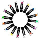 Moon Glow -Neon UV Lippenstift4.5gSet mit 16 Farben (Intensiv und Pastell)–ein spektakulär glühender Effekt bei UV- und Schwarzlicht!