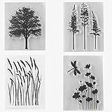 Stempel/Stempel aus Gummi, Motiv: Baum Lavendel, Mais, Mohnblumen, Blätter, Transparent, für Scrapbook/Fotodekoration, zum Basteln von Karten, 4 Stück