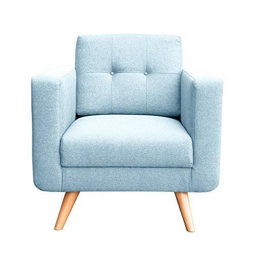 myHomery Sessel Hedvig gepolstert - Polsterstuhl für Esszimmer & Wohnzimmer - Lounge Sessel mit Armlehnen - Eleganter Retro Stuhl aus Stoff mit Holz Füßen - Hellblau   Sessel (Polsterstuhl Stoff)