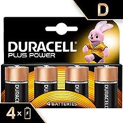 Duracell Plus Power Piles Alcalines Type D, Lot de 4 Piles (Visuel non Contractuel)