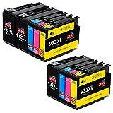 JIMIGO 932XL 933XL Druckerpatronen Ersatz für HP 932 933 Hohe Kapazität Kompatibel mit HP Officejet 6700 7612 7610 6600 7110 6100 (3 Schwarz, 2 Cyan, 2 Magenta, 2 Gelb)