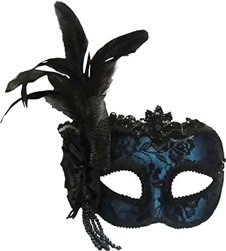 Fancy Dress Zubehör Masquerade Seite Feder Maske auf Haarband UK, Blau (Blauen Feder Kostüme Maske)