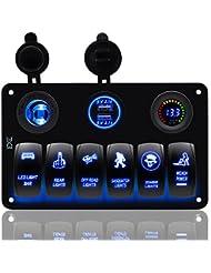 Fxc Bateau Interrupteur à bascule Panneau Voltmètre 12V Prise allume-cigare double USB Adaptateur chargeur d'alimentation Montage encastré étanche 6Gang commutateurs Panneau Noir pour RV de voiture Marine