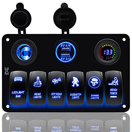 FXC Boat Wippschalter Panel Voltmeter 12V Zigarettenanzünder Doppel-USB Power Ladegerät Adapter Flush Mount Wasserdicht 6Gang Schalter Platte schwarz für Wohnmobil-Auto Marine -