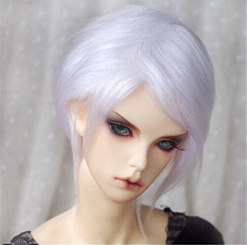 Tita-Doremi Ball-jointed Doll BJD Perücke Puppen Haarteil Für 1/4 7-8 inch Mini Dollfie SD10 MDD MSD Volks AOD Minifee DOD LUTS DZ Doll White Wig Hair 1/4 7-8 inch 18-19cm (Perücke Nur,Keine Puppe ) -