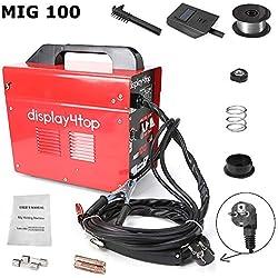 FOBUY Poste de Soudure à l'arc,Soudage Electrique,Soudure à Air Chaud Ménager Portable MIG 100,Soudage Onduleur (rouge)