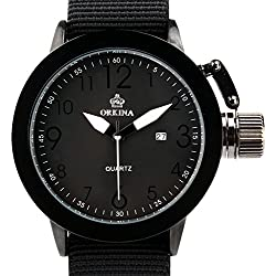 Orkina Mens Large Dial Quartz Date Day Display Black Color Nylon Band Wrist Watch W010-NBB