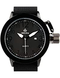 amazon co uk orkina watches orkina mens large dial quartz date day display black color nylon band wrist watch w010 nbb